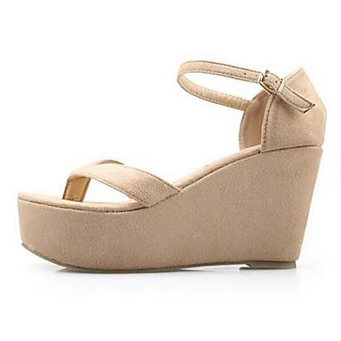 Naiset Kengät Aitoa nahkaa Lampaannahka Kevät Comfort Sandaalit Käyttötarkoitus Kausaliteetti Musta Manteli