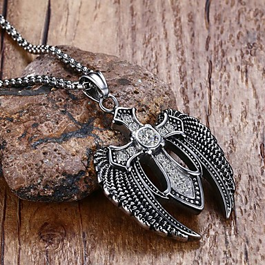 Men's Crystal Pendant Necklace / Statement Necklace - Stainless Steel, Titanium Steel Cross, Wings, Star Statement, Personalized, Punk Silver Necklace For Christmas Gifts, Party, Birthday
