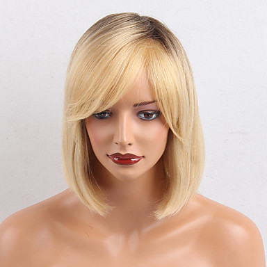 Human Hair Capless Wigs Human Hair Straight / Classic Ombre Machine Made Wig Daily