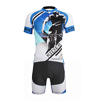 ILPALADINO Men's Short Sleeve Cycling Jersey with Shorts - Black Bike Clothing Suit, 3D Pad, Quick Dry, Ultraviolet Resistant, Reflective Strips Lycra Painting / Stretchy