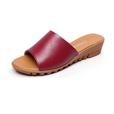 Mulheres Sapatos Couro Verão Conforto Sandálias Salto Plataforma Peep Toe para Casual Branco Preto Vermelho Verde