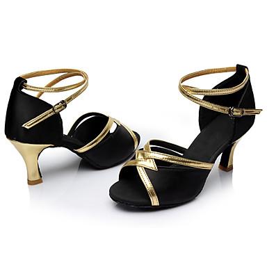 Mulheres Sapatos de Dança Latina Seda Sandália / Salto Salto Personalizado Personalizável Sapatos de Dança Preto / Interior / Couro