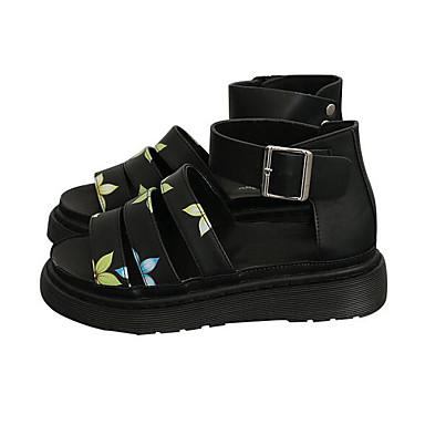 Naiset Kengät Siannahka PU Kevät Comfort Sandaalit Käyttötarkoitus Kausaliteetti Musta