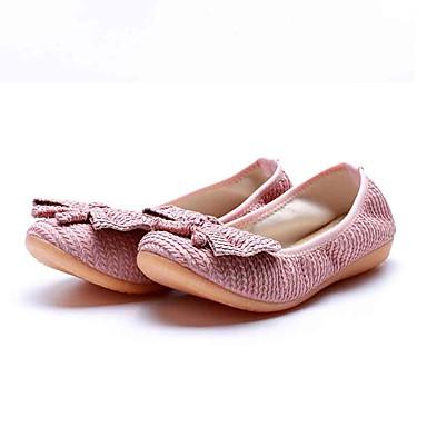 Mulheres Sapatos Tecido Primavera Verão Conforto Rasos Sem Salto Ponta Redonda Laço para Casual Preto Cinzento Rosa claro