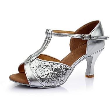 baratos Sapatos de Salsa-Mulheres Sapatos de Dança Paetês Sapatos de Dança Latina / Sapatos de Salsa Lantejoulas Sandália Salto Personalizado Personalizável Prata / Interior / Couro / EU40