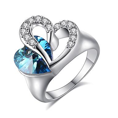Naisten Nauhasormukset Sormus Synteettinen Sapphire Heart Tyylikäs Platinum Synteettiset jalokivet Pyöreä Heart Korut Häät Juhlat/Ilta