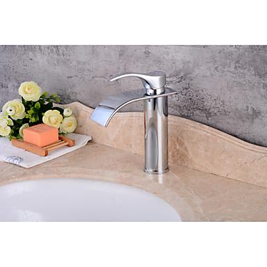 Moderne Mittellage Wasserfall Keramisches Ventil Einhand Ein Loch Chrom, Waschbecken Wasserhahn