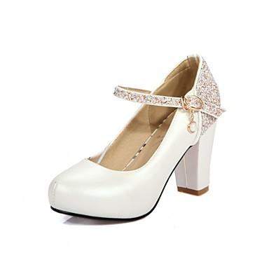 Mulheres Sapatos Sintético Courino Couro Ecológico Primavera Verão Conforto Inovador Saltos Caminhada Salto Robusto Ponta Redonda