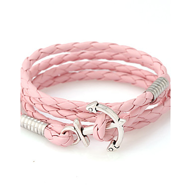 voordelige Herensieraden-Heren Dames Lederen armbanden Goedkoop Natuur Modieus Leder Armband sieraden Rood / Blauw / Roze Voor Speciale gelegenheden Lahja Sport
