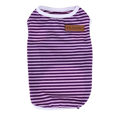 Cat Dog Shirt / T-Shirt Dog Clothes Stripe Orange Purple Red Green Pink Cotton Costume For Pets Men's Women's Casual/Daily