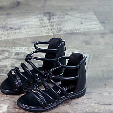 Tyttöjen Kengät PU Kesä Gladiaattori Sandaalit Tasapohja Käyttötarkoitus Kausaliteetti Valkoinen Musta