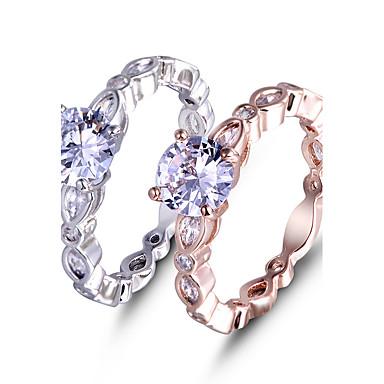 Dámské Zásnubní prsten Prsten Kubický zirkon Bílá Růžové zlato Rose Gold Syntetické drahé kameny Zirkon Platinová láska Elegantní Módní