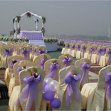 Côr Sólida Tule Fitas de casamento - 1 Peça/ Conjunto Laço de Organza Residencial Decorativo de Suporte de Oferta Caixa de Oferta
