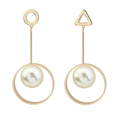 Damen Tropfen-Ohrringe Imitierte Perlen Euramerican Modisch Kupfer Dreieck Kreisform Geometrische Form Schmuck Party Alltag Modeschmuck