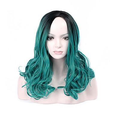 Synthetische Haare Perücken Wellen Kappenlos Natürliche Perücke Medium Grün