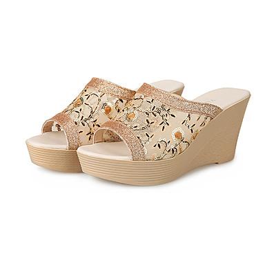Naiset Sandaalit Comfort Mikrokuitu Kesä Kausaliteetti Comfort Kiilakorko Valkoinen Keltainen 2-2,75in