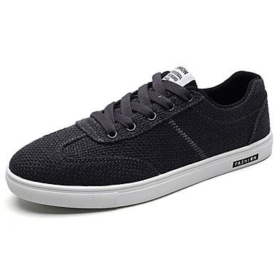 Homens sapatos Tecido Primavera Outono Conforto Tênis Cadarço para Casual Branco Preto Bege