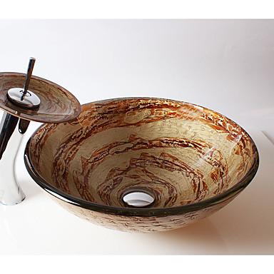 Moderne Rundförmig Material der Becken ist Hartglas Waschbecken für Badezimmer