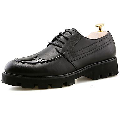 Homens sapatos Couro Verão Conforto Oxfords Caminhada para Ao ar livre Preto