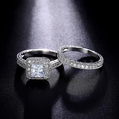 Damen Kubikzirkonia Ring / Verlobungsring - Kubikzirkonia, Silber Prinzessin Luxus, Klassisch, Modisch 6 / 7 / 8 Silber Für Hochzeit / Party / Party / Abend / Alltag