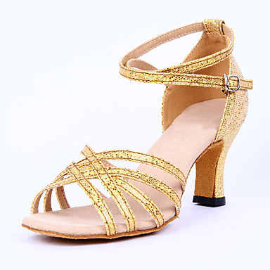 Mulheres Latina Sandália Salto Interior Presilha Salto Baixo Dourado Prateado 2