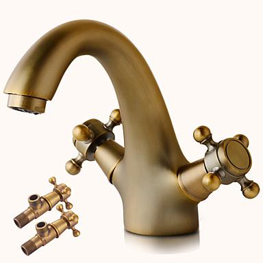 Pöytäasennus Keraaminen venttiili Kaksi kahvaa yksi reikä Antiikkikupari, Kylpyhuone Sink hana