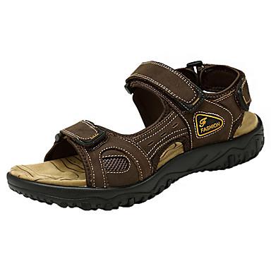 Homens sapatos Pele Pele Napa Verão Solados com Luzes Conforto Sandálias Colchete para Atlético Ao ar livre Café Marron