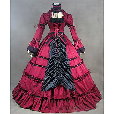 Viktorianisch Rokoko Kostüm Damen Kleid Party Kostüme Maskerade Rot Vintage Cosplay Other Langarm Kappe Boden-Länge Bodenlänge