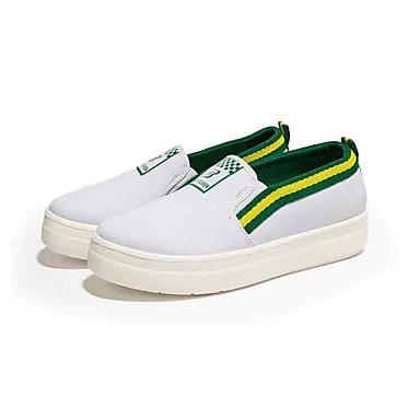 Mulheres Sapatos Lona Primavera Outono Conforto Mocassins e Slip-Ons Caminhada Plataforma Ponta Redonda para Casual Branco Preto