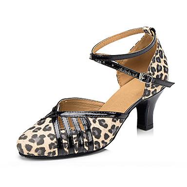 Mulheres Latina Outras Peles de Animais Pele Couro Sandália Têni Profissional Presilha Salto Robusto Leopardo 2 - 2 3/4inch Personalizável