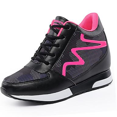 Mulheres Sapatos Couro Ecológico Primavera Verão Tênis Salto Baixo para Branco Preto Vermelho