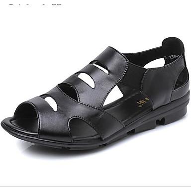 Naiset Kengät Nahka Kevät Comfort Sandaalit Käyttötarkoitus Kausaliteetti Musta