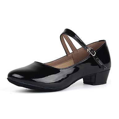 baratos Shall We® Sapatos de Dança-Mulheres Couro Envernizado Sapatos de Dança Moderna Salto Salto Baixo Personalizável Vermelho / Dourado / Prata / Ensaio / Prática / EU39