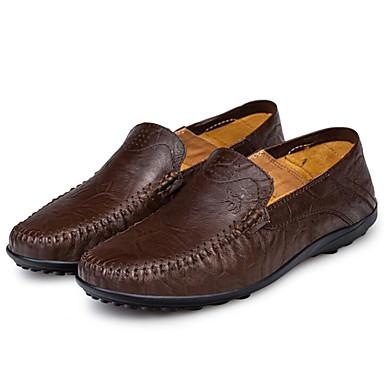Miehet Kengät Nappanahka Siannahka Kevät Comfort Mokkasiinit Käyttötarkoitus Kausaliteetti Musta Tumman ruskea Vaalean ruskea