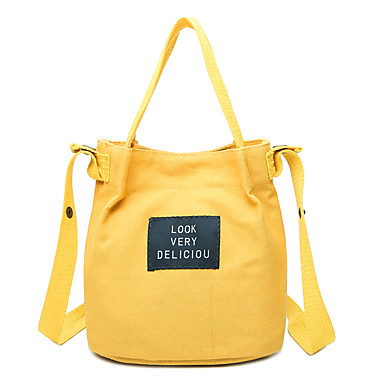 Women's Bags Canvas Tote Quotes & Sayings White / Black / Yellow