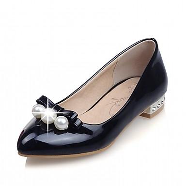 Mujer Zapatos PU Verano Confort Bailarinas Tacón Bajo Dedo redondo Perla de Imitación Negro / Beige / Rojo cLRPU