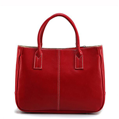 Mulheres Bolsas PU Bolsa de Ombro Ziper Branco / Rosa / Vermelho