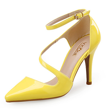 Women's Shoes Synthetic / Patent Leather Spring / Summer Comfort Heels Stiletto Heel Pointed Toe White / Black / Yellow / Dress