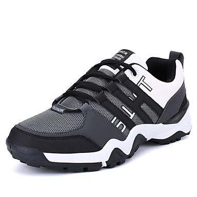 Homens sapatos Couro Ecológico Primavera Outono Solados com Luzes Tênis Cadarço para Atlético Casual Ao ar livre Cinzento Preto/Vermelho