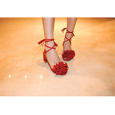 Naiset Kengät Aitoa nahkaa Kesä Comfort Sandaalit Käyttötarkoitus Kausaliteetti Musta Punainen