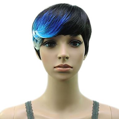 Perucas sintéticas Liso Densidade Sem Touca Mulheres Azul Peruca de carnaval Peruca de Halloween Peruca Natural Curto Cabelo Sintético