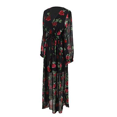 Damen A-Linie Kleid-Party Alltag Ausgehen Street Schick Blumen V-Ausschnitt Maxi Langarm Baumwolle Polyester Frühling Sommer Hohe Hüfthöhe