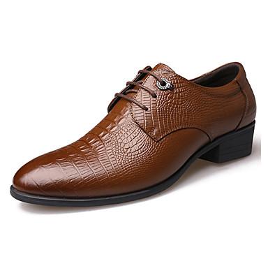 Homens sapatos Couro Inverno Outono Oxfords Caminhada Cadarço para Preto Marron