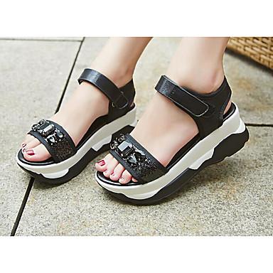 Naiset Kengät Mikrokuitu Kevät Sandaalit Käyttötarkoitus Musta Hopea