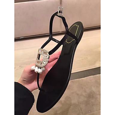 Naiset Kengät Aitoa nahkaa PU Kevät Comfort Sandaalit Käyttötarkoitus Kausaliteetti Musta