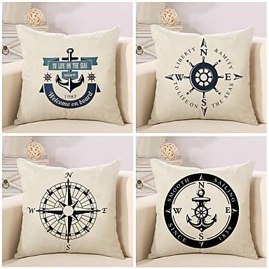 4 pcs Cotton / Linen Pillow Cover / Pillow Case, Novelty / Fashion / Anchor Retro / Traditional / Classic / Euro