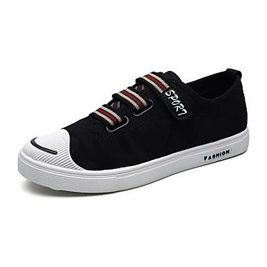 Miesten kengät Canvas Kevät Kesä Comfort Lenkkitossut Kävely varten Kausaliteetti Valkoinen Musta