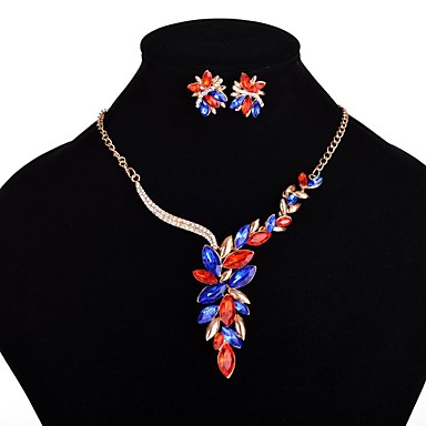 Mulheres Conjunto de jóias 1 Colar 1 Par de Brincos - Luxo Euramerican Fashion Flor Conjunto de Jóias Para Festa