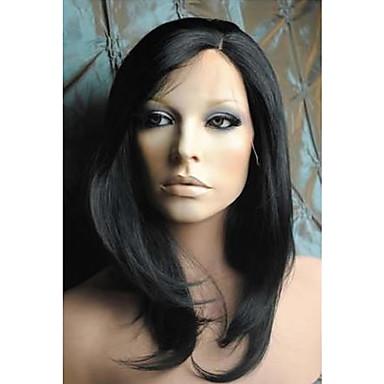Syntetické paruky Volný Černá Se síťovanou přední částí Přírodní paruka Střední Umělé vlasy