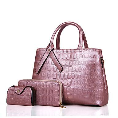 Mulheres Bolsas Couro Ecológico Conjuntos de saco 3 Pcs Purse Set para Todas as Estações Azul Preto Vermelho Rosa Cinzento